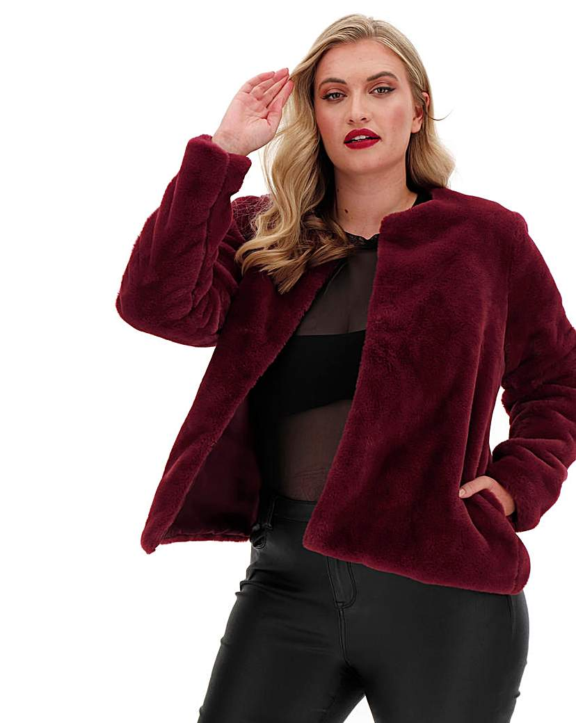 Capsule Wine Collarless Faux Fur Jacket