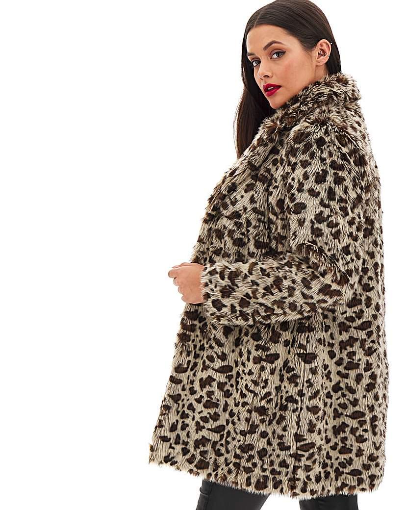 Capsule Leopard Print Faux Fur Coat