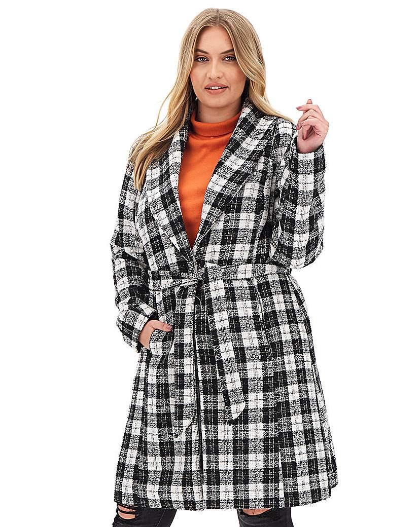 Capsule Black & White Check Print Belted Coat