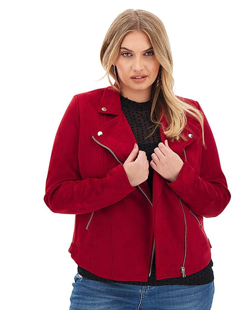 Capsule Raspberry Suedette Biker Jacket