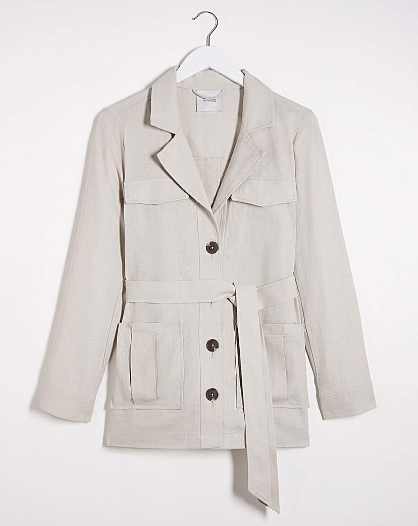 Capsule Sand Belted Utility Linen Jacket