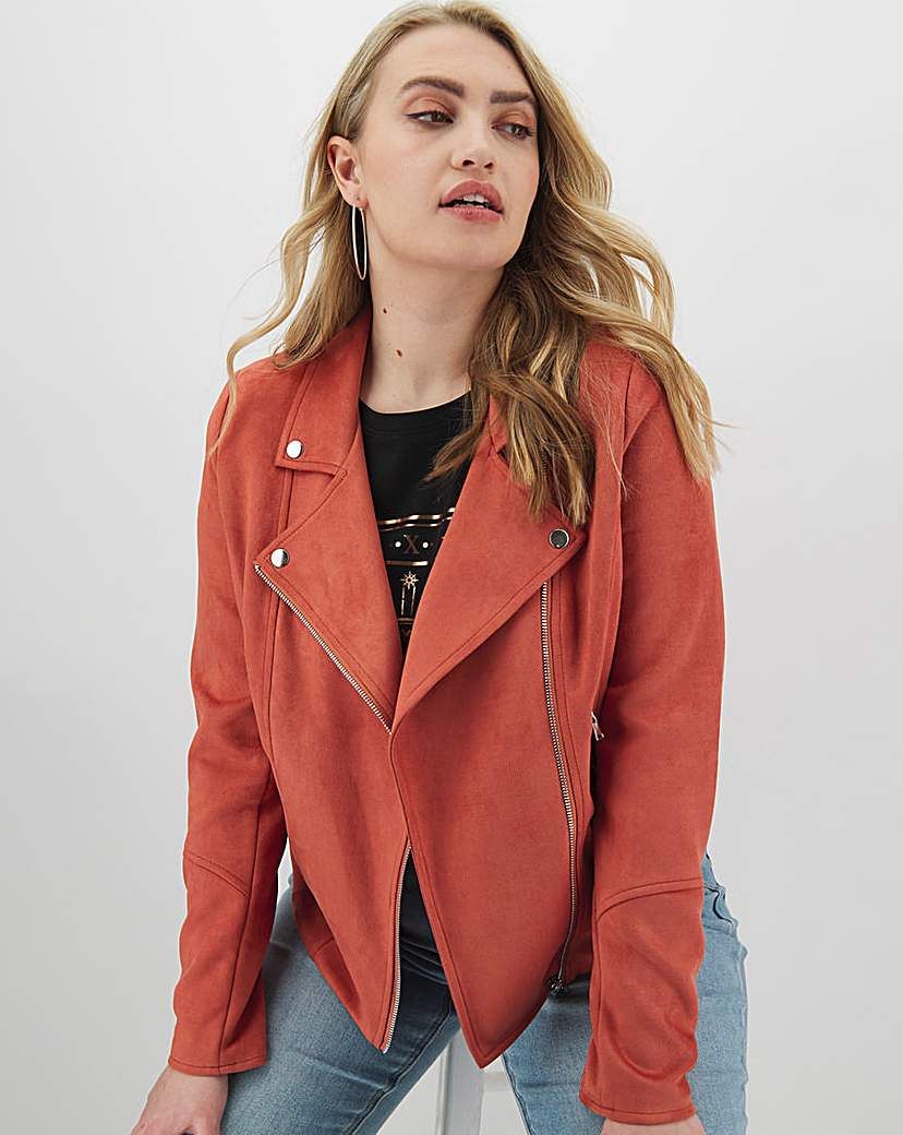 Capsule Rust Suedette Biker Jacket