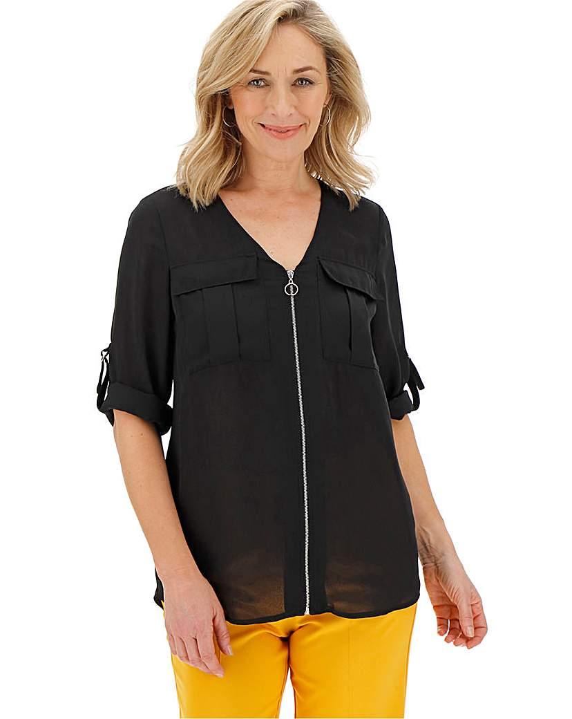 Black Double Pocket O-Ring Zip Shirt