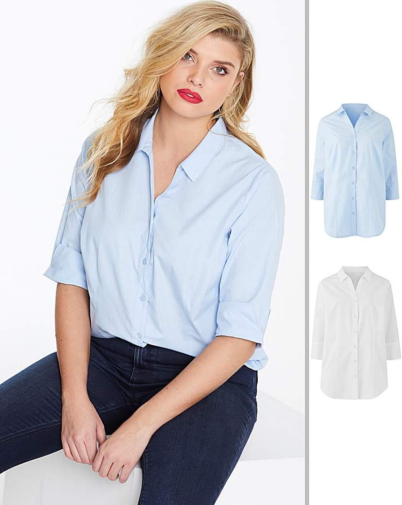 Capsule White/Blue 2 Pack Work Shirts