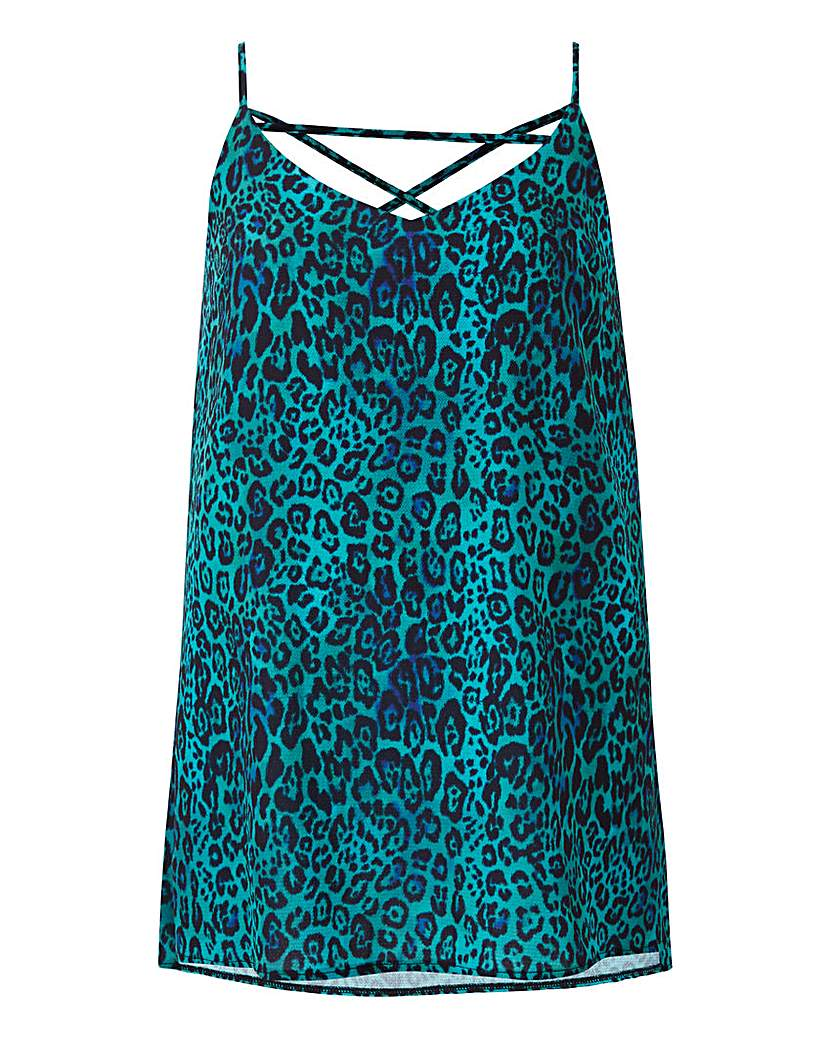Teal Animal Cross Back Strappy Cami