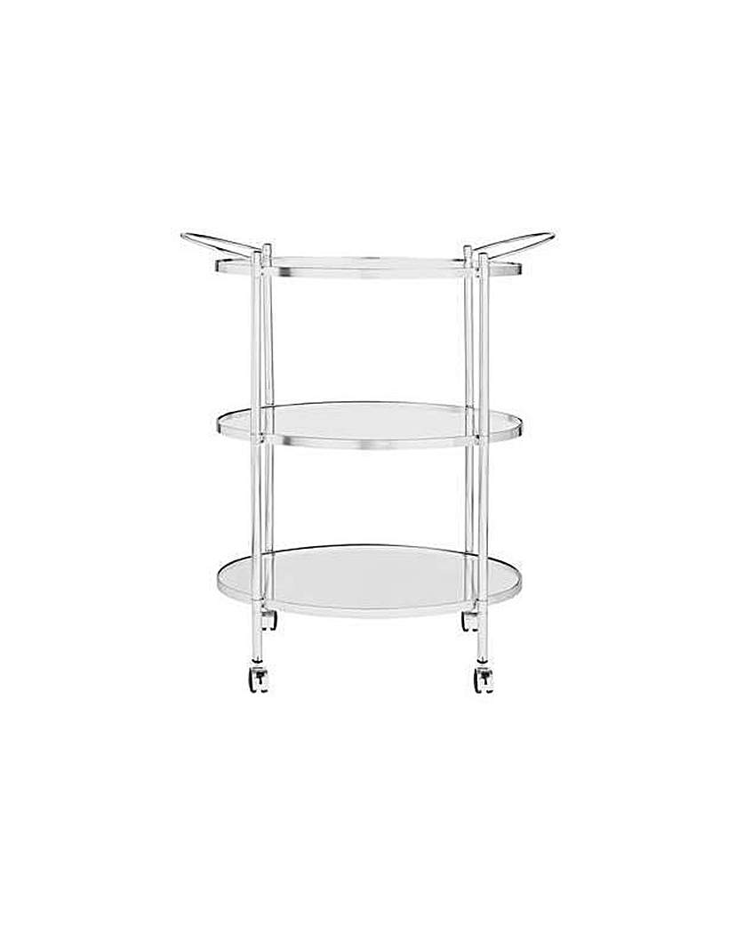 Image of 3 Tier Chrome and Glass Drinks Trolley