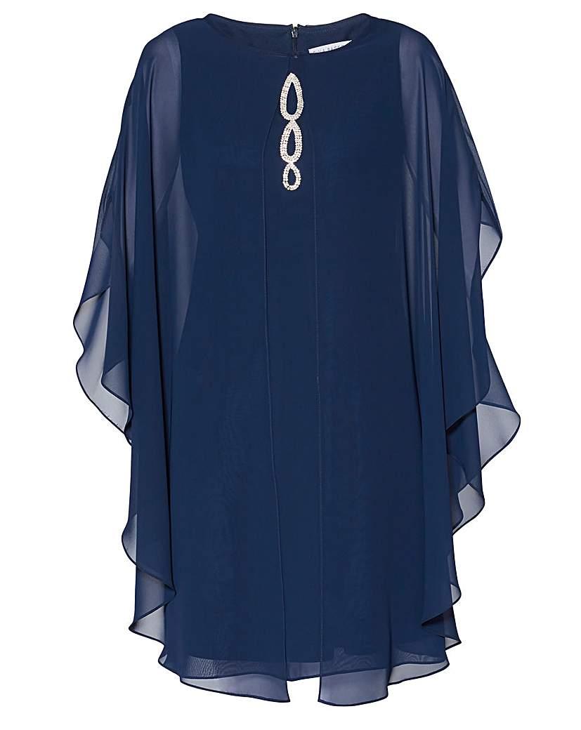 Gina Bacconi Avery Chiffon Cape Dress