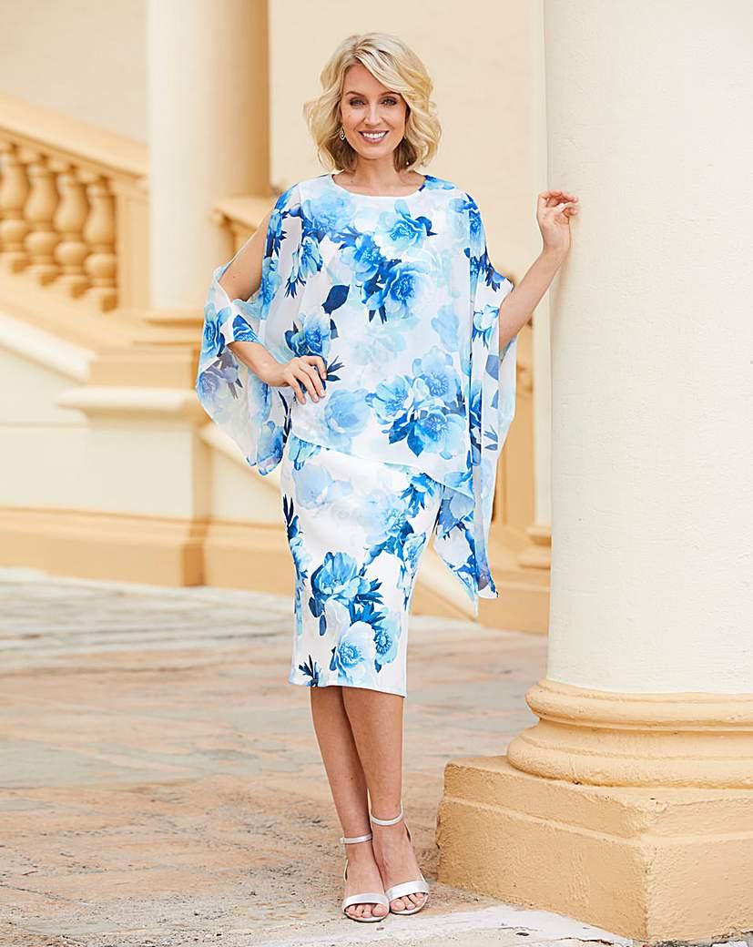 Nightingales Print Scuba Cape Dress