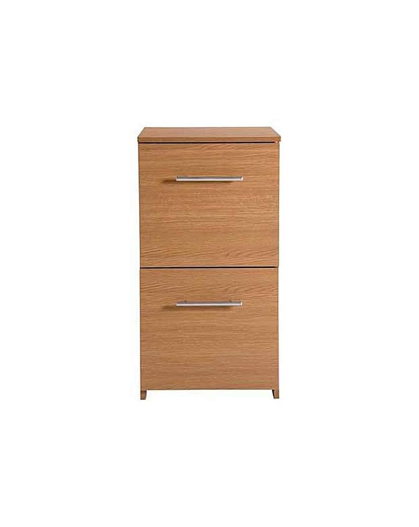Image of 2 Drawer Filing Cabinet - Oak Effect