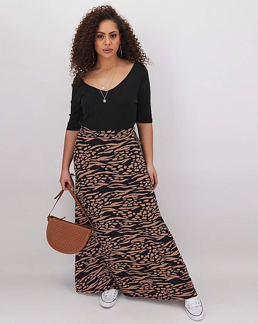 Capsule Animal Print Jersey Maxi Skirt