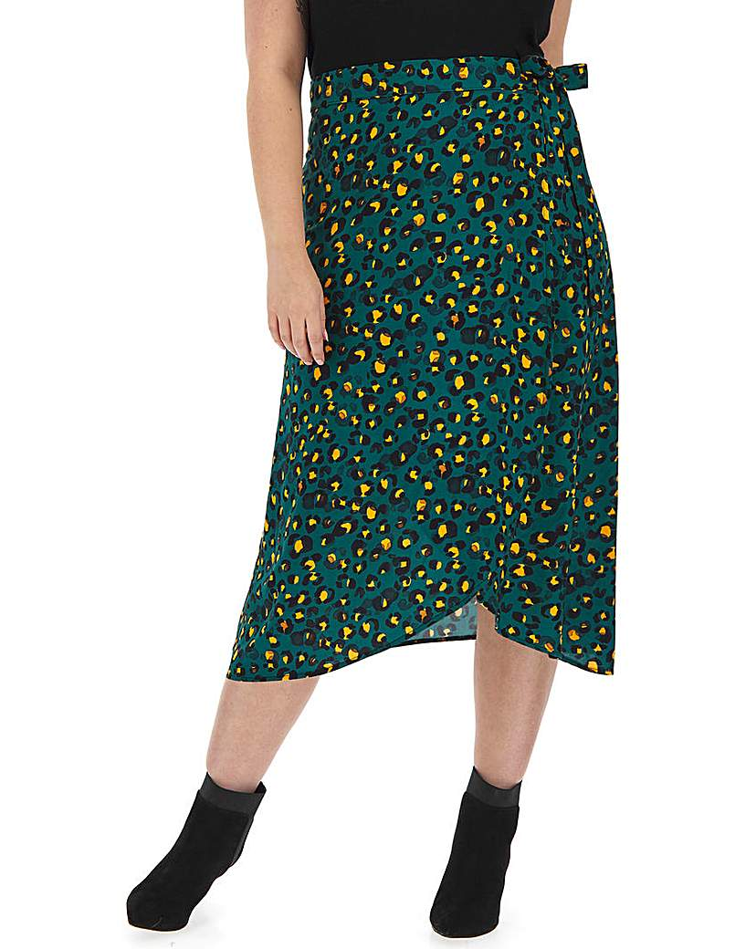 Capsule Animal Print Wrap Front Midi Skirt