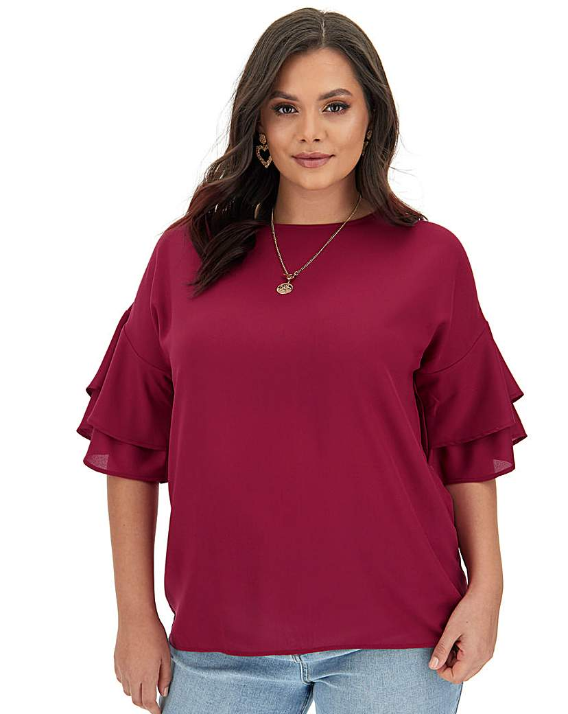 Capsule Raspberry Fluted Sleeve Blouse