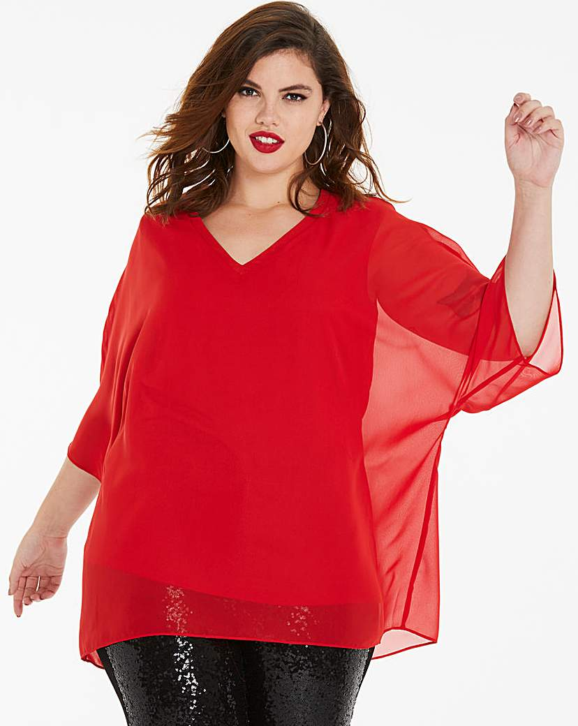 Capsule Red V-Neck Top with Jersey Lining
