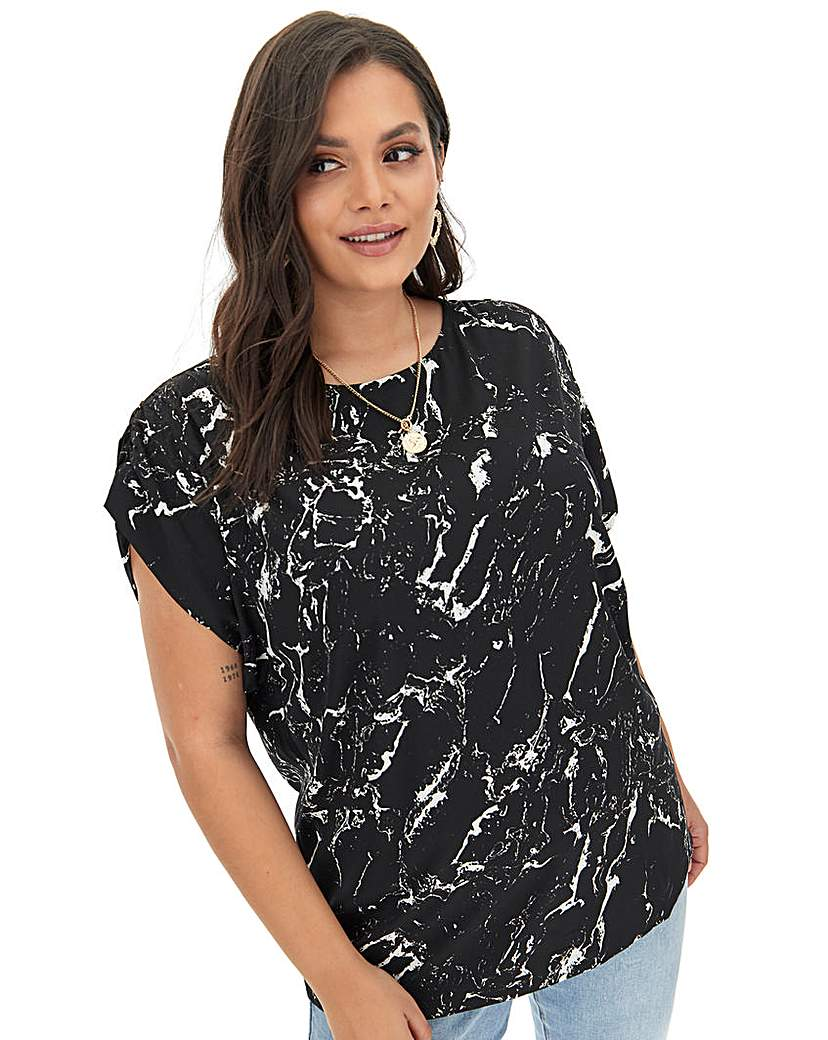 Capsule Mono Print Gathered Sleeve Woven Top
