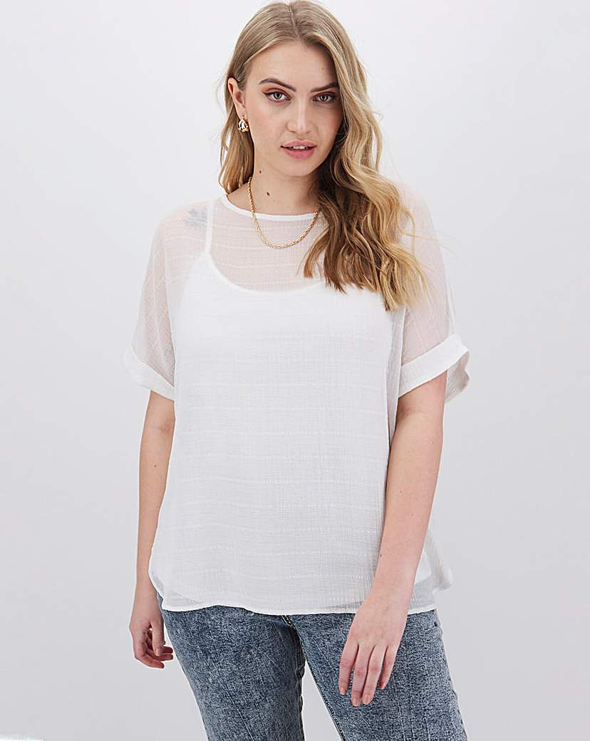 Capsule Ivory Textured Woven T-Shirt