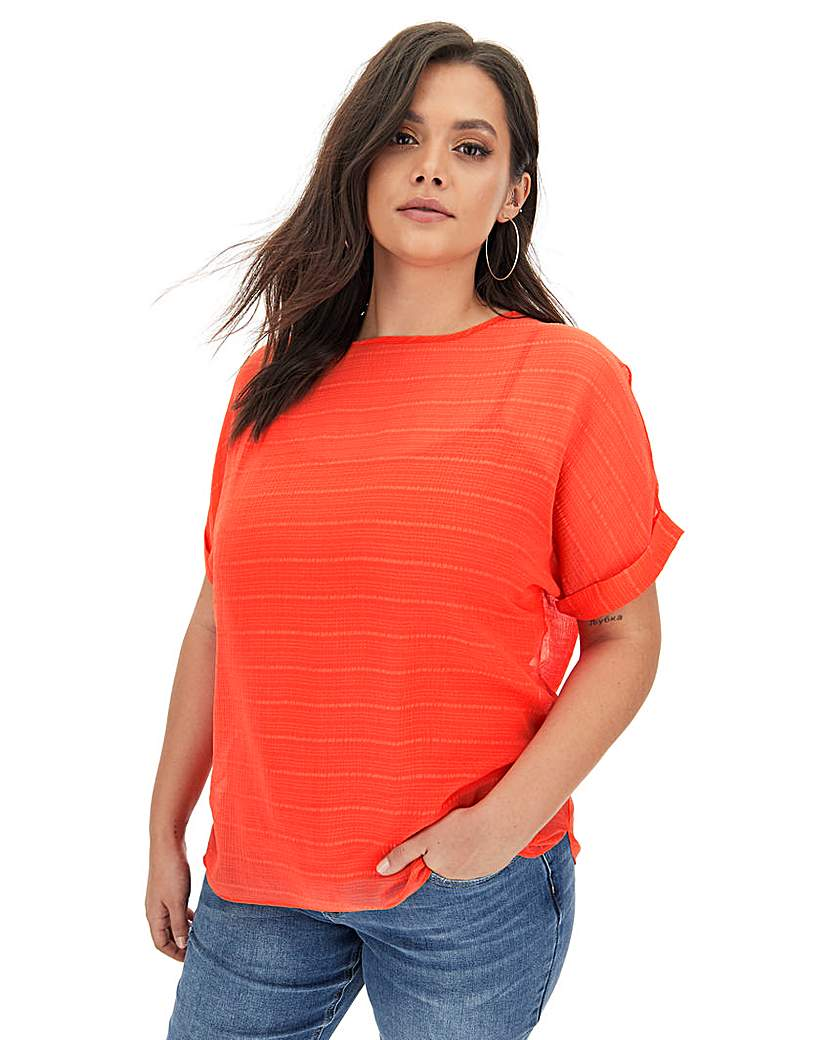 Capsule Deep Orange Textured Woven T-Shirt
