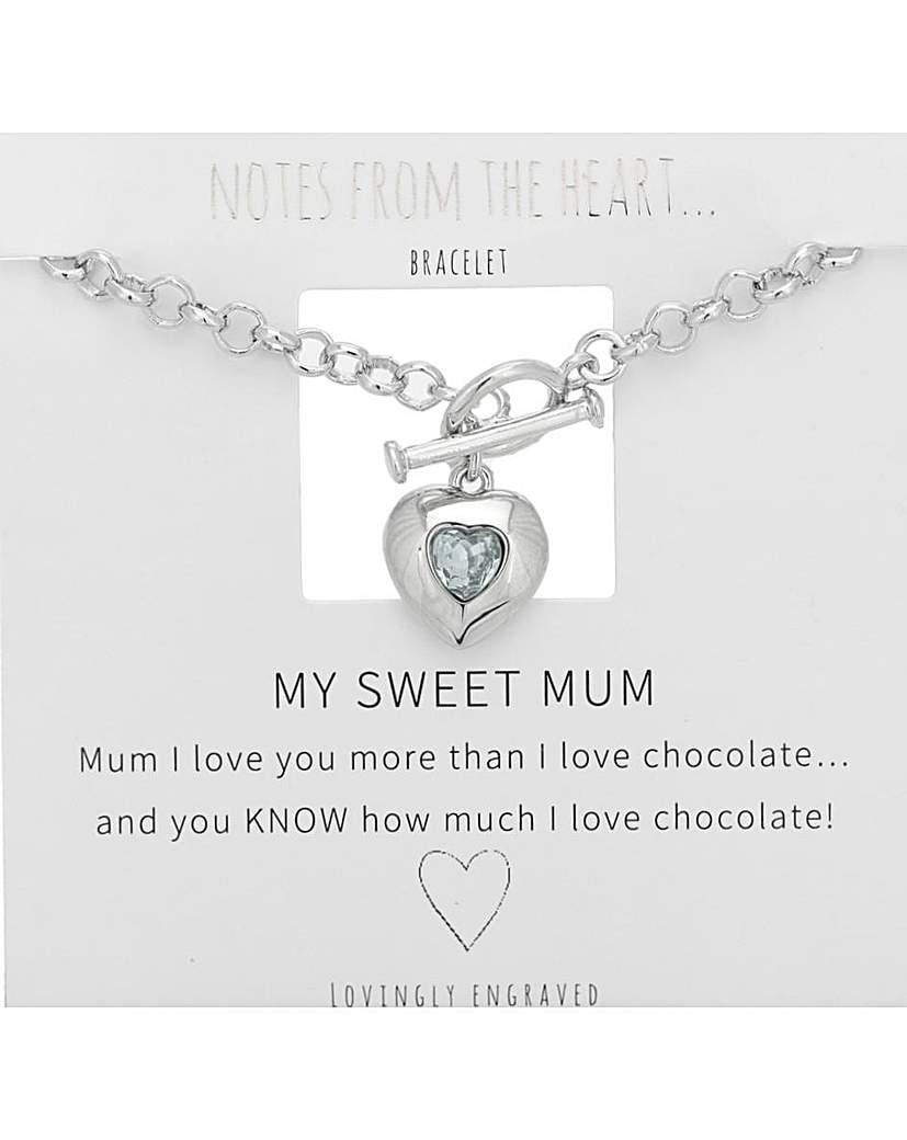 Notes From The Heart My Sweet Mum Heart T Bar Bracelet