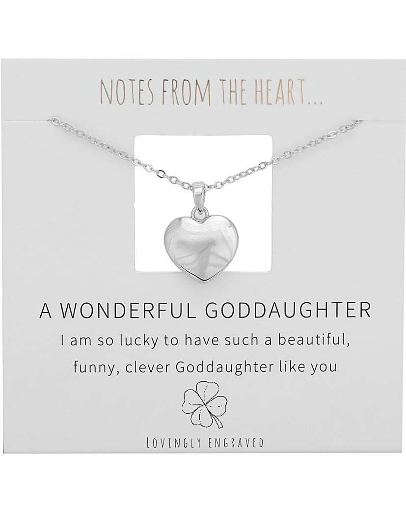 Notes From The Heart A Wonderful Goddaughter Heart Pendant