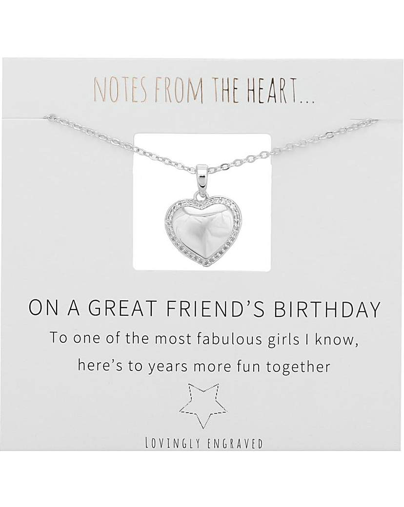 Notes From The Heart On A Great Friend's Birthday Pendant
