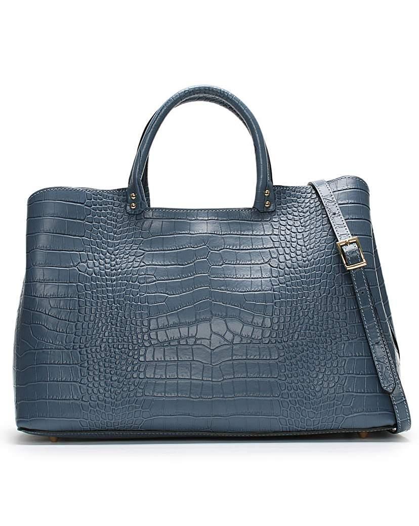 Daniel Mintley Moc Croc Leather Tote Bag