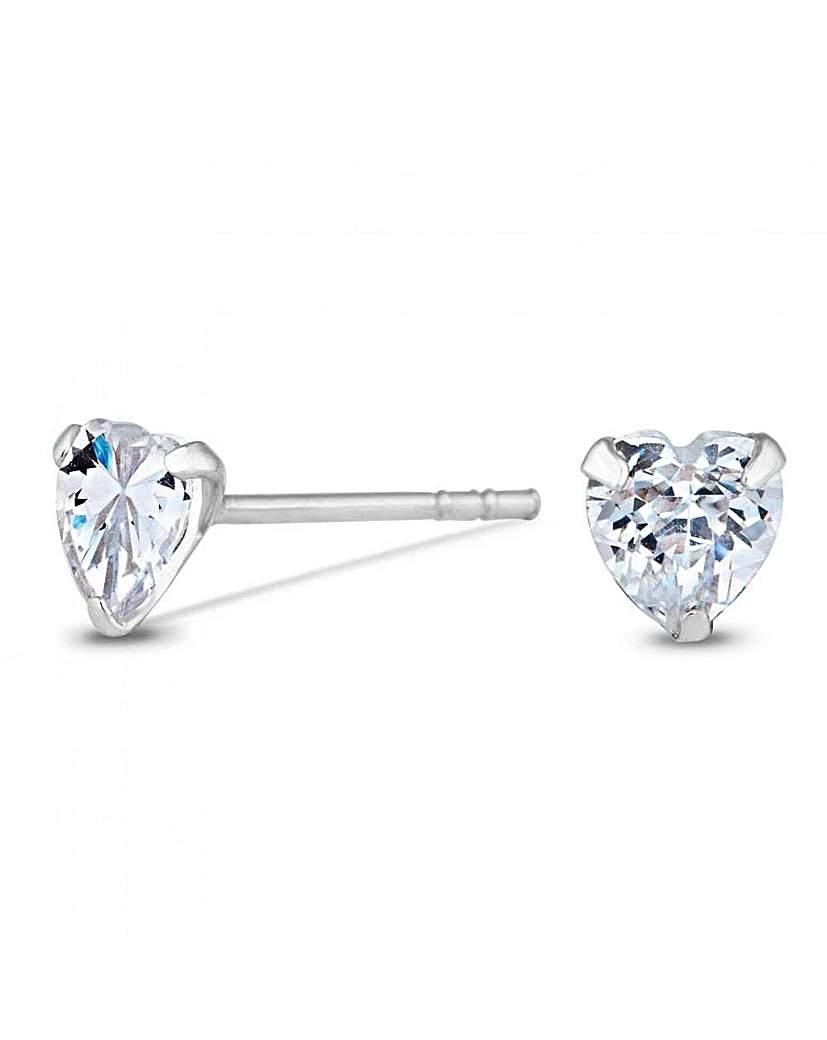Simply Silver by Jon Richard Simply Silver Heart Stud Earrings