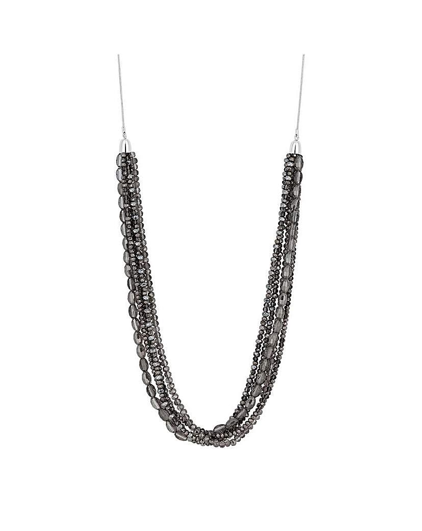 MOOD Black Glass Bead Multirow Necklace