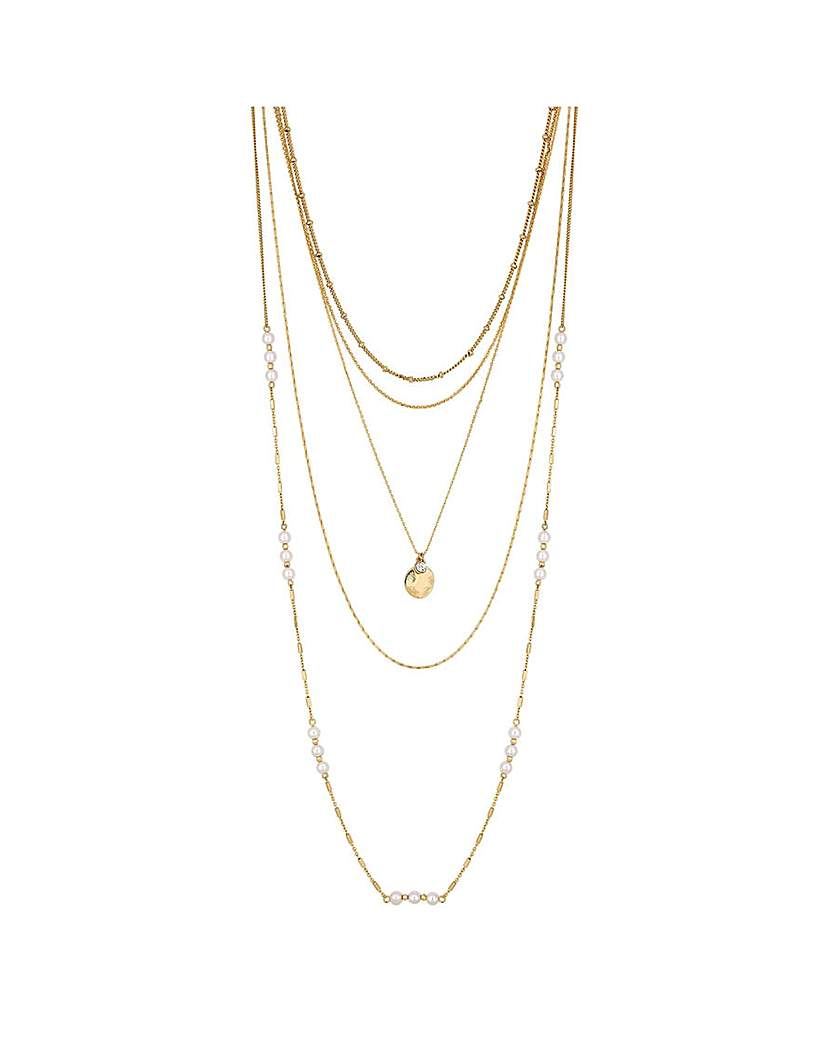 Mood Pearl Chain Mix Multirow Necklace