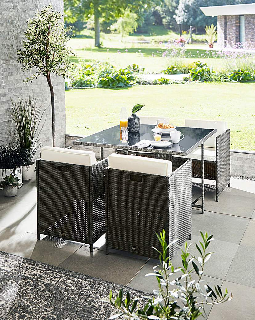 Image of Maine 4 Seat Rattan Cube Dining Set