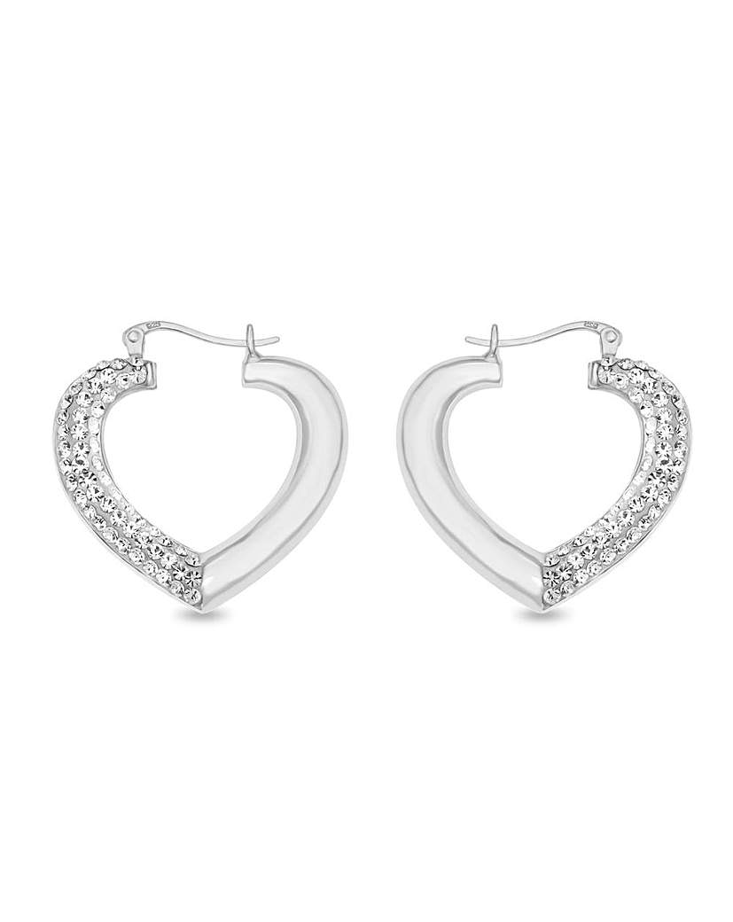 Crystal Glitz Crystal Puffed Large Heart Earrings