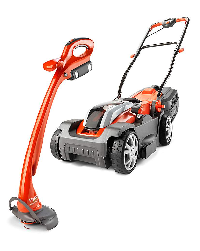 Flymo MightiMo + Trimmer Battery Twin Pk