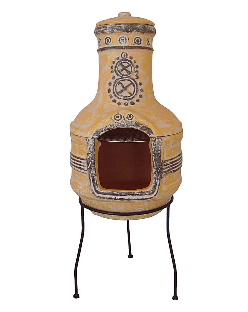 Image of 2-Piece Clay Chimenea with Grill