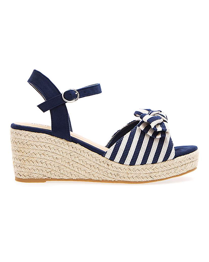 JD Williams Bow Espadrille Wedge Sandals E Fit