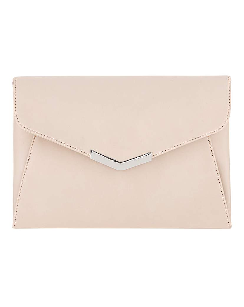 25593875067 Clutch With Metal Trim Nude