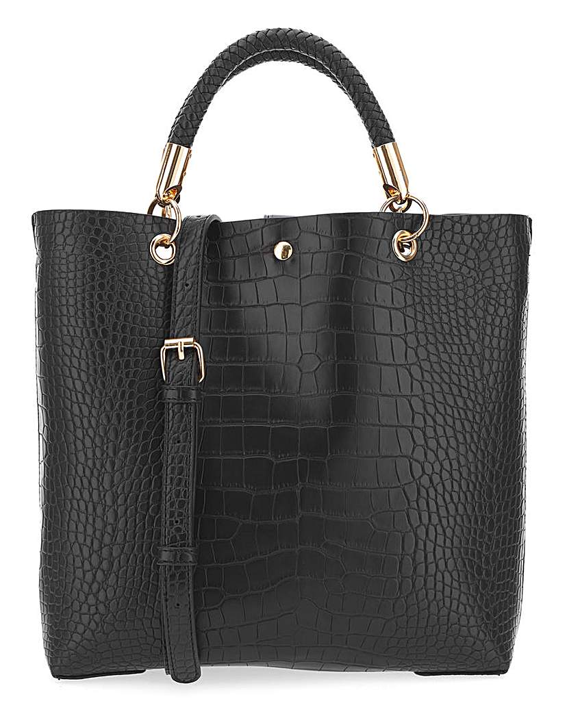 25732281091 Mock Croc Twisted Handle Tote