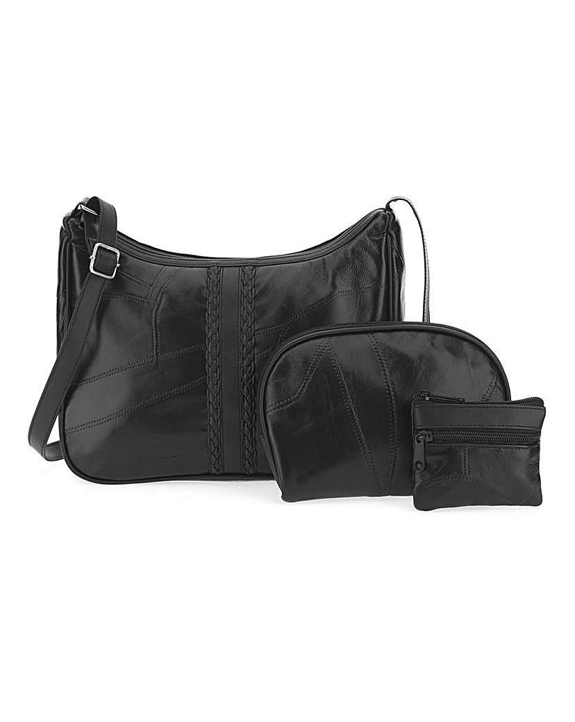JD Williams Patchwork Leather 3 Pc Set