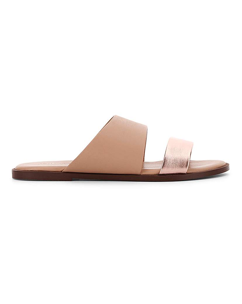 JD Williams Leather Twin Strap Mule Sandals EEE Fit