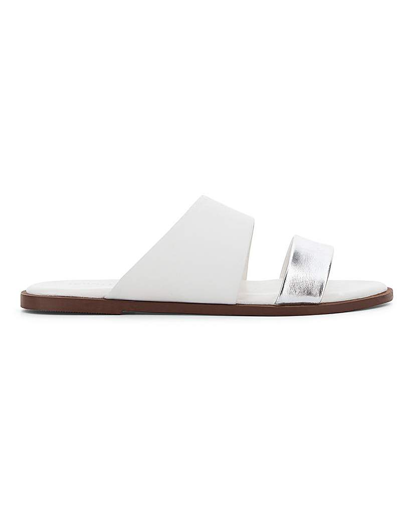JD Williams Leather Twin Strap Mule Sandals E Fit