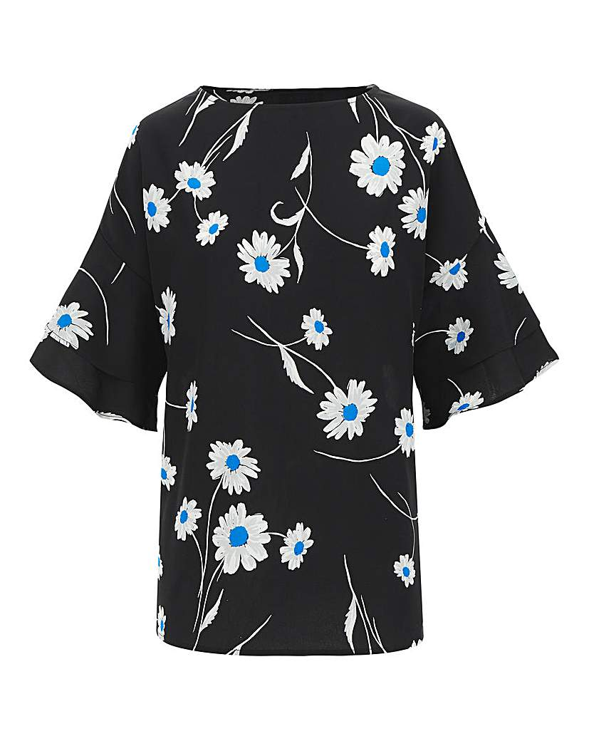 Capsule Floral Print Fluted Sleeve Woven Top