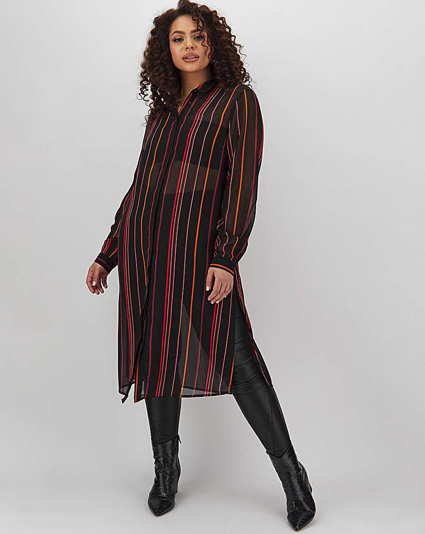 Capsule Orange Stripe Longline Shirt