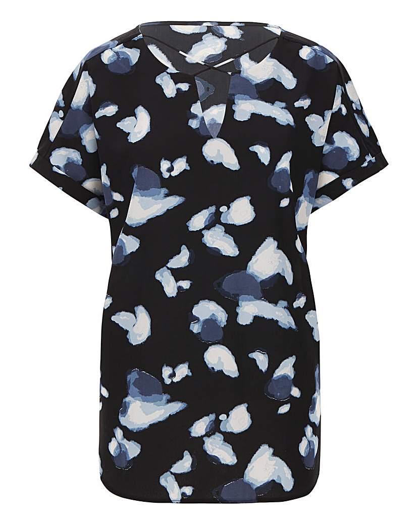 JD Williams Blue Print Cross Front Short Sleeve Top