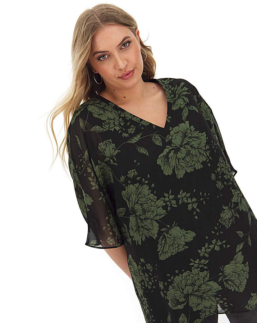 Capsule Floral V Neck Jersey Lined Blouse