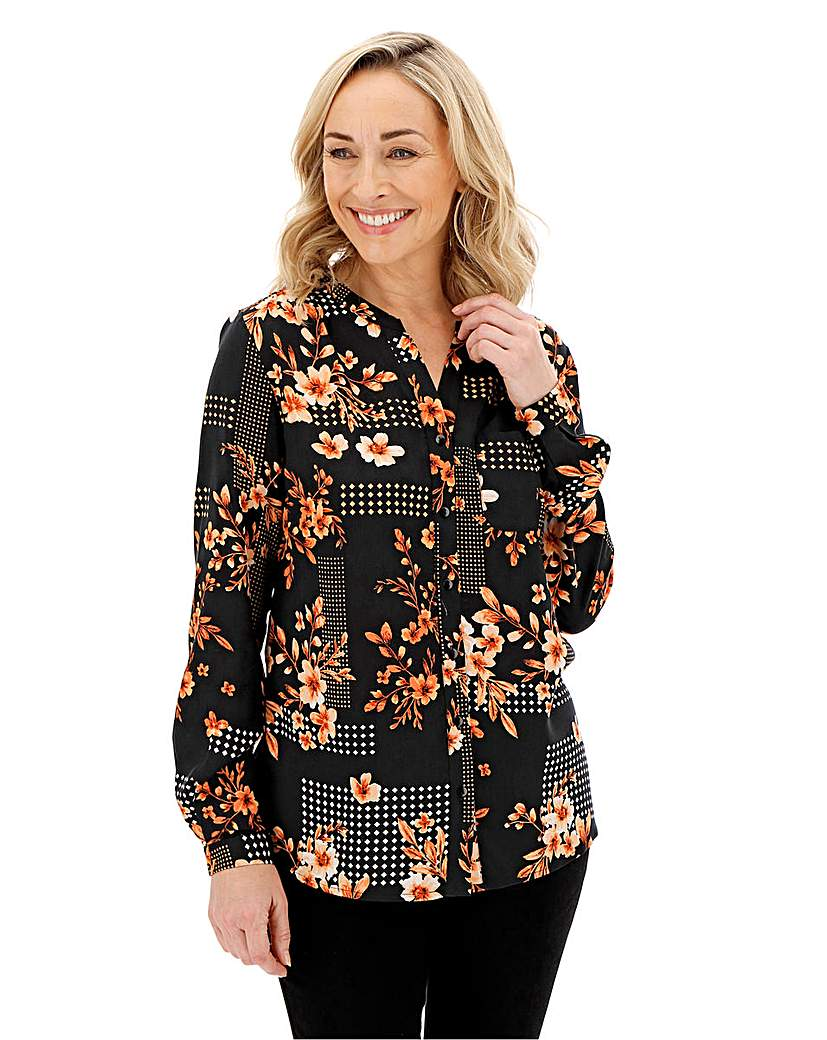 Floral Print V Neck Viscose Shirt