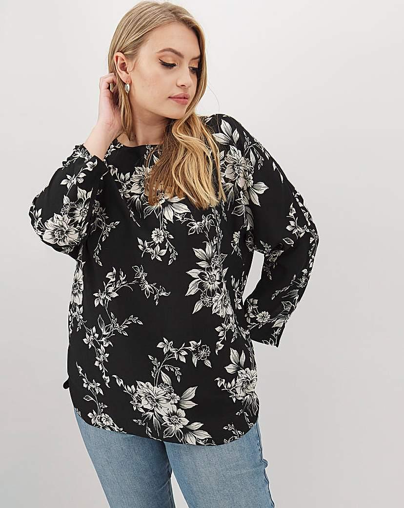 Capsule Mono Floral Print Zip Back Top