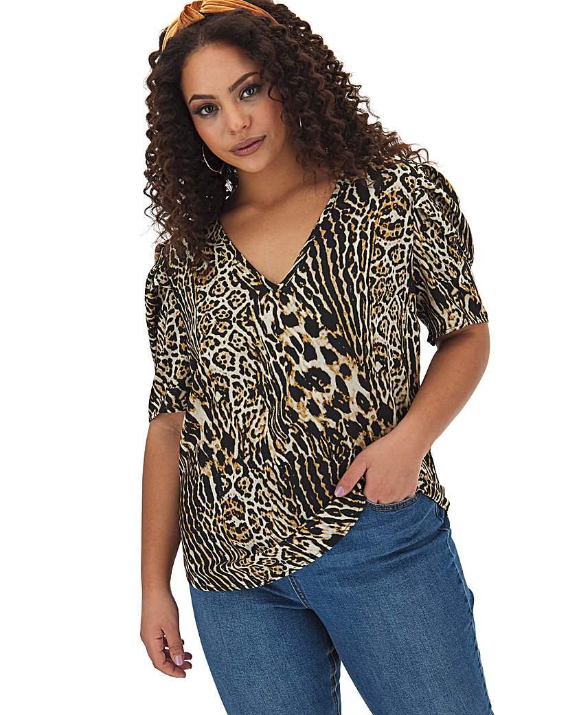 Capsule Leopard Print Puff Sleeve V Neck Top