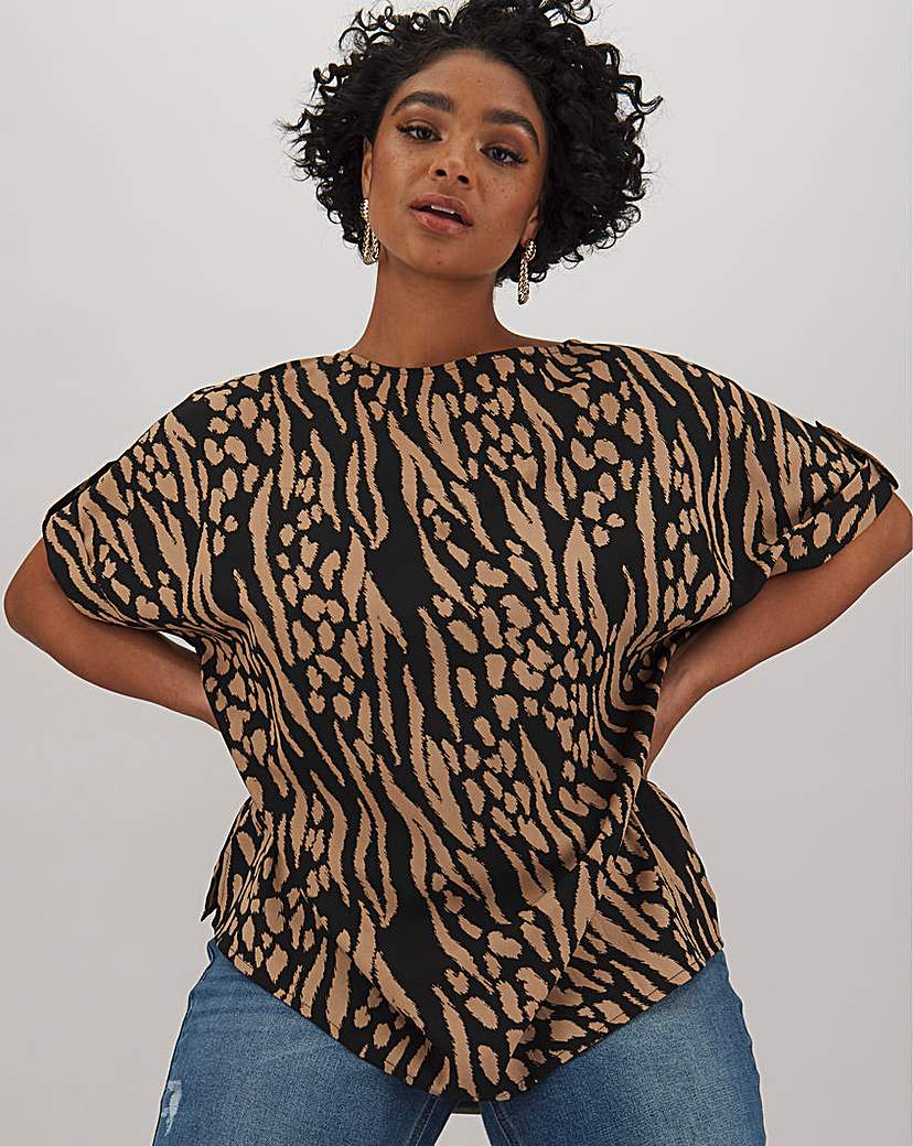 Capsule Animal Button Detail Woven Top