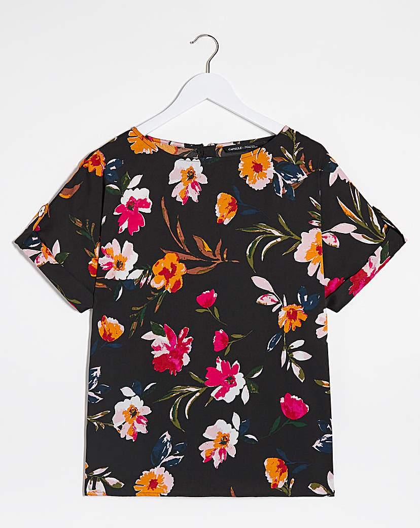 Capsule Black Floral Button Detail Woven Top