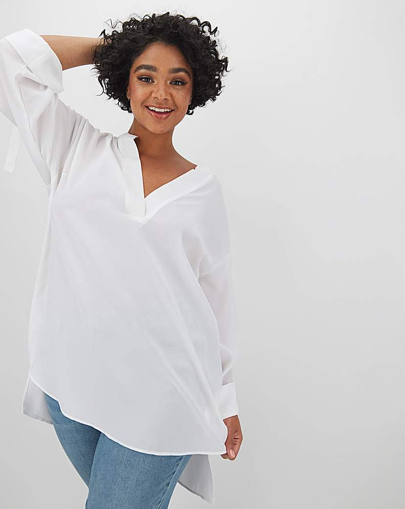 Capsule V Neck Loose Top With Sleeve Tab