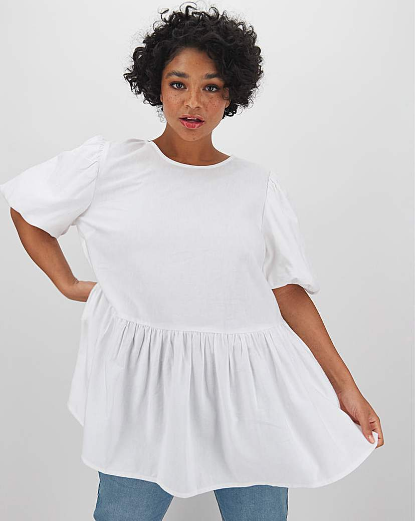 Capsule White Linen Puff Sleeve Smock Top