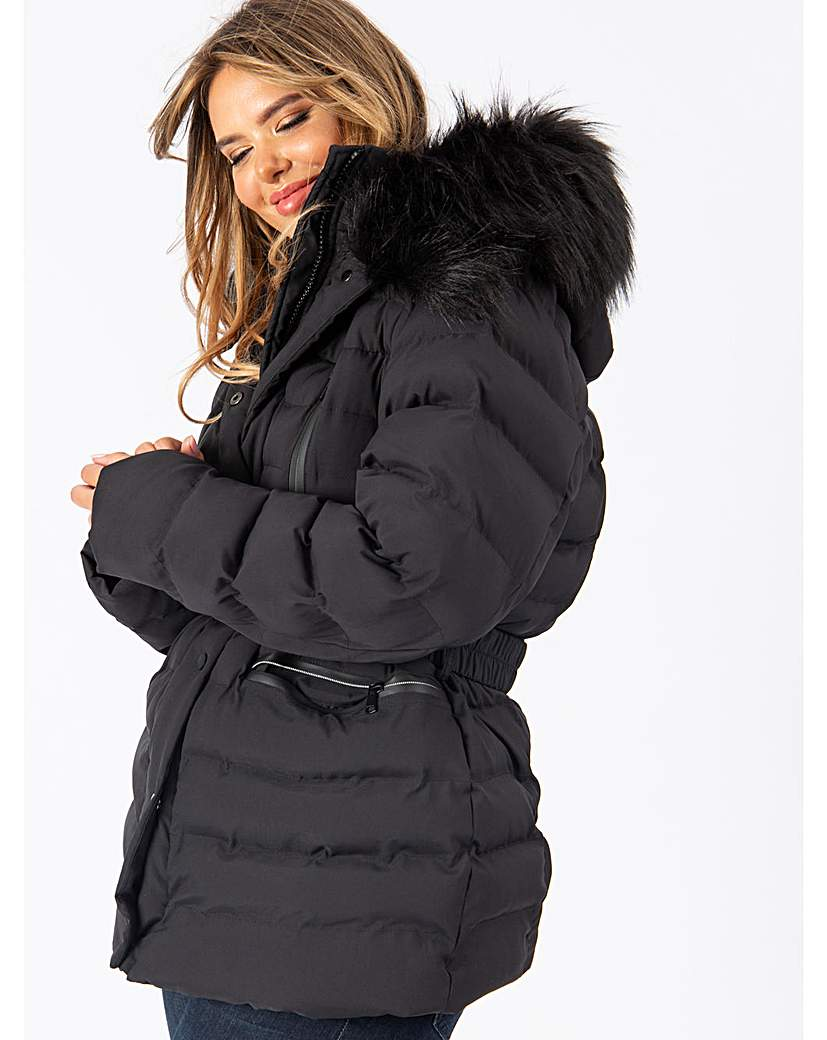 Lovedrobe Black Belted Padded Coat