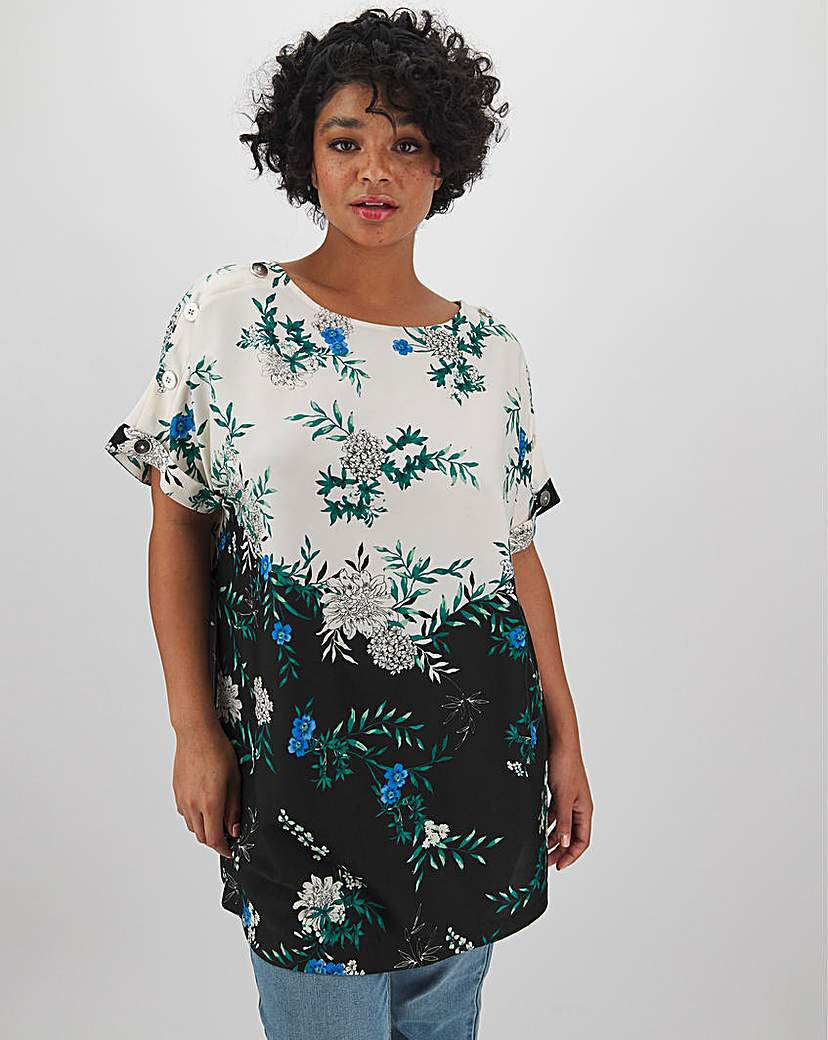 Capsule Mixed Floral Button Detail Woven Tunic